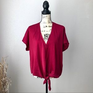 Lucky Brand Red Front Tie Blouse M